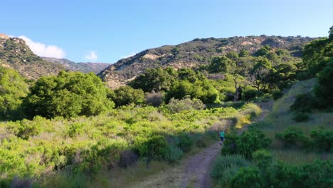 Aerial-Over-A-Woman-Jogging-Through-The-Wilderness-In-The-Santa-Ynez-Mountains-In-Santa-Barbara-County-California