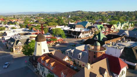 Aerial-Over-The-Quaint-Danish-Town-Of-Solvang-California-With-Windmill-And-Shops