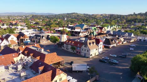 Aerial-Over-The-Quaint-Danish-Town-Of-Solvang-California-With-Denmark-Windmill-And-Shops