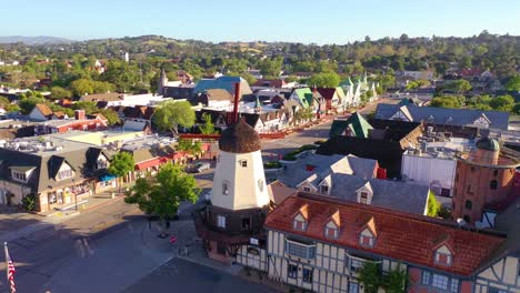 Aerial-Over-The-Quaint-Danish-Town-Of-Solvang-California-With-Denmark-Windmill-And-Shops-1