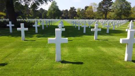 Moving-Shot-Through-The-World-War-Two-Normandy-American-Cemetery-In-France