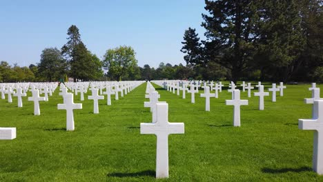 Panning-Shot-Through-The-World-War-Two-Normandy-American-Cemetery-In-France
