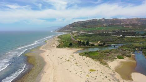 High-Aerial-Over-The-Central-Coast-Of-California-Shore-And-Beach-Near-The-Ventura-River