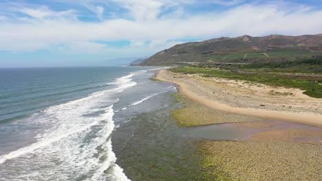 Aerial-Over-The-Central-Coast-Of-California-Shore-And-Beach-Near-The-Ventura-River