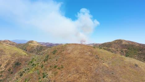 A-Wildfire-Brush-Fire-Burns-In-The-Back-Country-Of-Ventura-County-California-Near-Lake-Piru