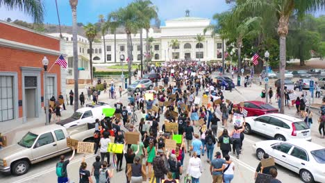 Excellent-Aerial-Over-Crowds-Large-Black-Lives-Matter-Blm-Protest-March-Marching-Through-A-Small-Town-Ventura-California-3