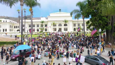 Excellent-Aerial-Over-Crowds-Large-Black-Lives-Matter-Blm-Protest-March-Marching-Through-A-Small-Town-Ventura-California-4