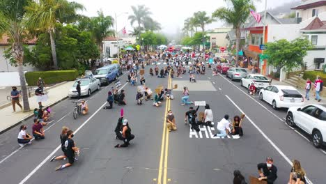 Aerial-Over-Crowds-Large-Black-Lives-Matter-Blm-Protest-March-Kneeling-On-The-Street-Ventura-California-1