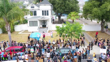 Aerial-Over-Crowds-Large-Black-Lives-Matter-Blm-Protest-March-Marching-Through-A-Small-Town-Ventura-California-6
