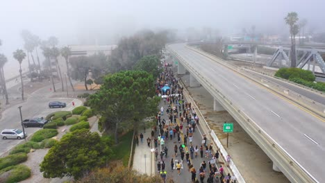 High-Vista-Aérea-Over-Large-Crowds-In-Street-Black-Lives-Matter-Blm-Protest-March-Marching-Through-Ventura-California-3