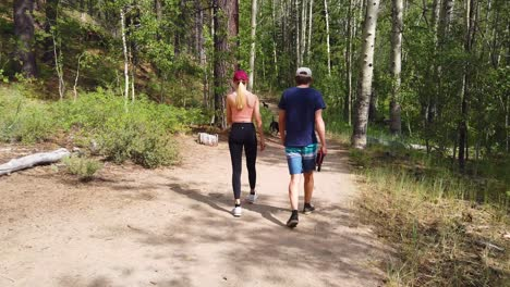 A-Man-And-Woman-Walk-Through-A-Forest-With-Their-Dogs-In-Slow-Motion-In-The-Sierra-Nevada-Mountains-Near-Lake-Tahoe-California-2