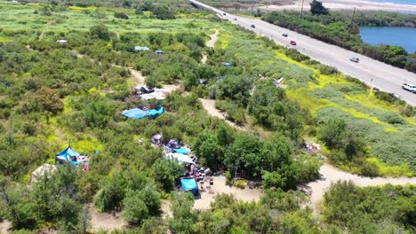 Aerial-Of-Tents-And-Homeless-Encampments-In-The-River-Bed-Area-Of-Ventura-Oxnard-California-2