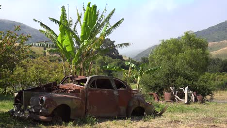 An-Old-Car-Sits-Abandoned-And-Rusting-On-A-Ranch-In-Santa-Ynez-Mountains-Of-California