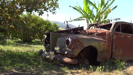 An-Old-Car-Sits-Abandoned-And-Rusting-On-A-Ranch-In-Santa-Ynez-Mountains-Of-California-1