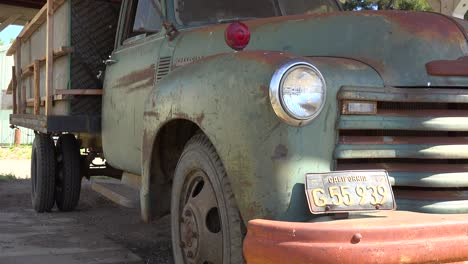 An-Old-Ford-Truck-Sits-Abandoned-And-Rusting-On-A-Ranch-In-Santa-Ynez-Mountains-Of-California