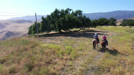 Aerial-Retired-Couple-Riding-Horses-At-Mountaintop-Oak-Trees-On-A-Ranch-Near-Santa-Barbara-California