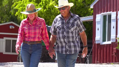 A-Happy-Retired-Farming-Couple-In-Love-Walk-Hand-In-Hand-Enjoying-Retirement-On-Their-Country-Farm