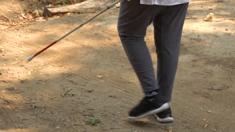 A-Blind-Woman-Walks-With-A-Cane-Through-A-Natural-Area-With-A-Guide-Helping-Her-Explore-The-Wilderness
