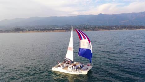 Aerial-Over-A-Catamaran-Sailboat-Sailing-Off-The-Coast-Of-Santa-Barbara-California-2