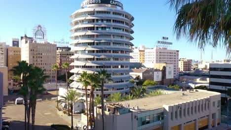 Aerial-Of-The-Capitol-Records-Building-A-Hollywood-Los-Angeles-Landmark