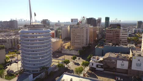 Aerial-Of-The-Capitol-Records-Building-Landmark-And-Downtown-Hollywood-California