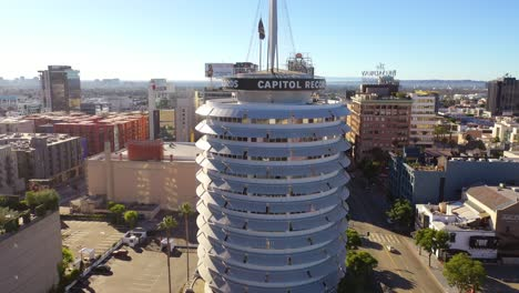 Aerial-Of-The-Capitol-Records-Building-Landmark-And-Downtown-Hollywood-And-Los-Angeles-California