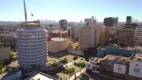 Aerial-Of-The-Capitol-Records-Building-Landmark-And-Downtown-Hollywood-And-Los-Angeles-California-1