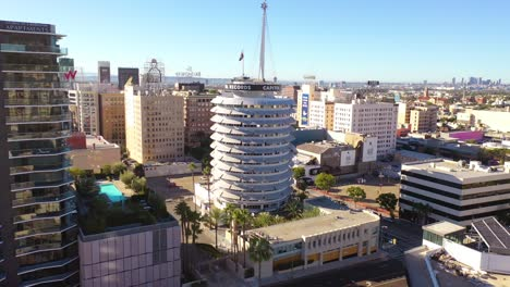 Aerial-Of-The-Capitol-Records-Building-Landmark-And-Downtown-Hollywood-California-1