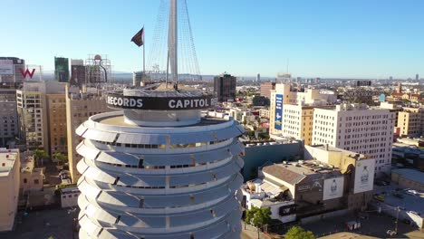 Aerial-Of-The-Capitol-Records-Building-Landmark-And-Downtown-Hollywood-California-2