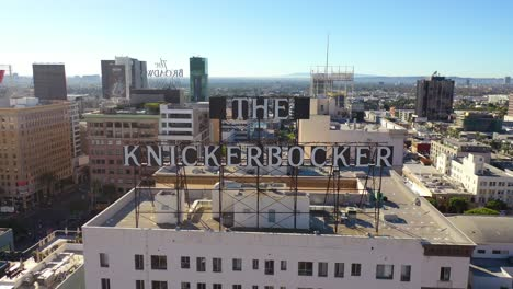 Aerial-Of-The-Knickerbocker-Hotel-Rooftop-Sign-In-Downtown-Hollywood-California