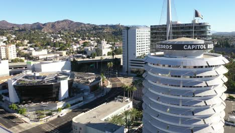 Aerial-Of-The-Hollywood-Hills-Includes-Capitol-Records-Building-Griffith-Park-Observatory-And-The-Hollywood-Freeway-2