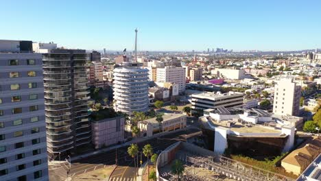 Aerial-Of-The-Capitol-Records-Building-A-Hollywood-Los-Angeles-Landmark-1