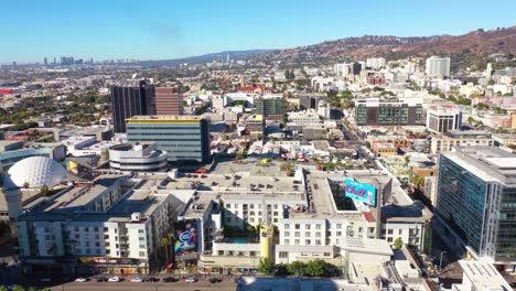 Antena-Del-Centro-De-Hollywood-California-Con-Century-City-Y-West-Hollywood-Distante