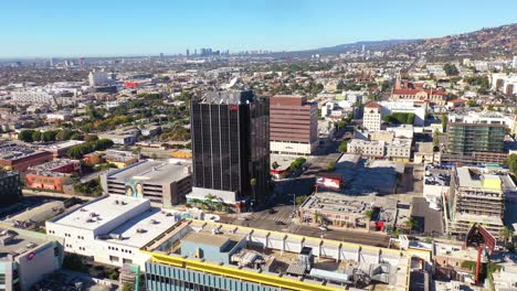 Aerial-Of-The-Cnn-Cable-News-Building-In-Hollywood-Los-Angeles-Bureau-California