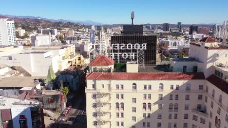 Aerial-Reveal-Of-Hollywood-Boulevard-And-Roosevelt-Hotel