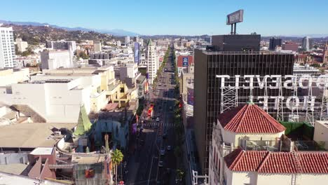 Aerial-Reveal-Of-Hollywood-Boulevard-And-Roosevelt-Hotel-1