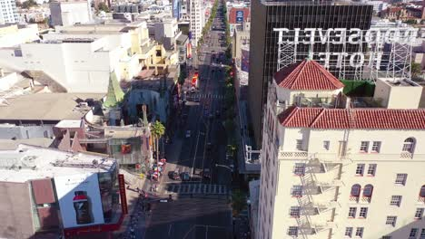 Aerial-Reveal-Of-Hollywood-Boulevard-And-Roosevelt-Hotel-2