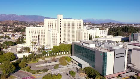 Aerial-Establishing-Of-The-Los-Angeles-County-Usc-Medical-Center-Hospital-Health-Complex-Near-Downtown-La-1