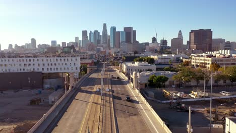 Aerial-View-Of-Downtown-Los-Angeles-From-The-La-River-Bridge-And-Union-Station-Area
