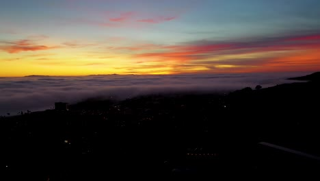 Night-Or-Dusk-Aerial-Over-Fog-Rolling-Into-Ventura-California-City-Near-Los-Angeles-1