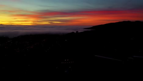 Night-Or-Dusk-Aerial-Over-Fog-Rolling-Into-Ventura-California-City-Near-Los-Angeles-2