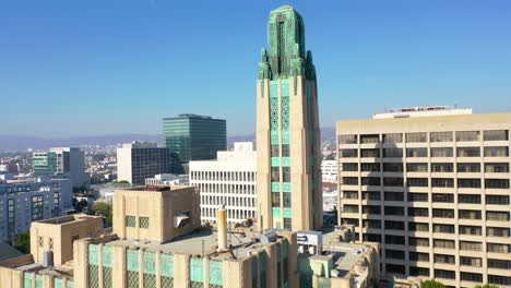 Rising-Aerial-Of-The-Bullocks-Wilshire-Art-Deco-Historical-Building-In-Los-Angeles-California