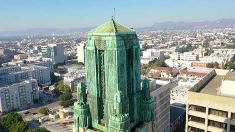 Good-Aerial-Of-The-Bullocks-Wilshire-Art-Deco-Historical-Building-And-Copper-Summit-In-Los-Angeles-California