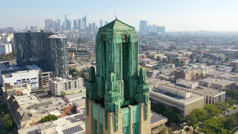 Good-Aerial-Of-The-Bullocks-Wilshire-Art-Deco-Historical-Building-And-Copper-Summit-In-Los-Angeles-California-1