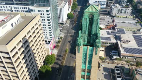Good-Aerial-Of-The-Bullocks-Wilshire-Art-Deco-Historical-Building-And-Copper-Summit-In-Los-Angeles-California-2