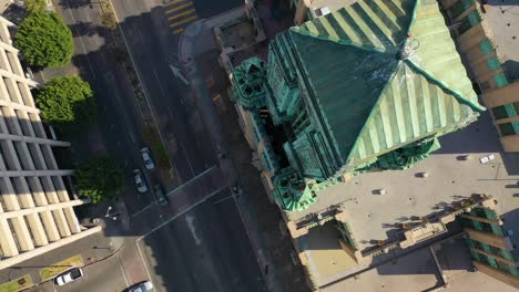 Good-Aerial-Of-The-Bullocks-Wilshire-Art-Deco-Historical-Building-And-Copper-Summit-In-Los-Angeles-California-3