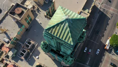 Good-Aerial-Of-The-Bullocks-Wilshire-Art-Deco-Historical-Building-And-Copper-Summit-In-Los-Angeles-California-4
