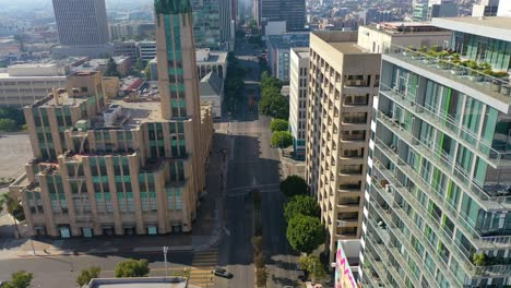 Aerial-Of-Wilshire-Blvd-In-Los-Angeles-Passing-The-Bullocks-Wilshire-Art-Deco-Building-1