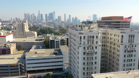 Aerial-Of-The-Bryson-And-Royale-Apartment-Buildings-In-The-Wilshire-District-Of-Los-Angeles-California