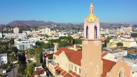 Aerial-Over-Blessed-Sacrament-Catholic-Church-In-Hollywood-California